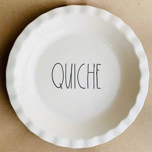 Rae Dunn Quiche Round Pie Dish Long Letters